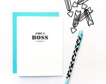 like a boss letterpress card