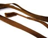 "Vintage 18""  Brick Colored Woven Flat Rayon Shoe Laces - Per Pair - Shoestrings - Old Bootlaces - 1920s Shoe Laces"