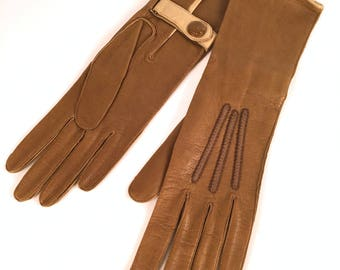 Vintage 30s Womens Gloves, Two Tone, Gauntlet, Embroidered, Camel, Cream, Leather, Cotton, Metal Snap, Made in Montreal, 6 1/2, Long