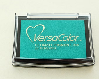 Ink Pad VersaColor Turquoise No. 20 | Pigment Ink | Acid-free | Turquoise Stamp Pad | Water-Soluble Ink Pad | Embossing Ink
