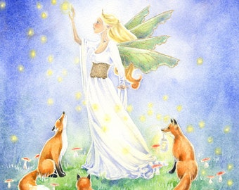 Fairy Art Watercolor Print - Catching Fireflies - fantasy art. fox. animal. fine art. moon. magic. for her. whimsical. nature. fairy tale.