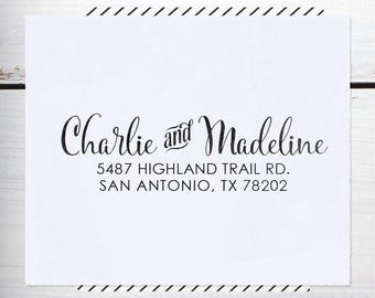 Self Inking Return Address Stamp, Custom Address Stamp, Wedding address stamp, Calligraphy Address Stamp, or Eco Mount stamp  - Madeline