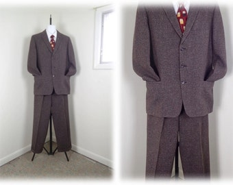 Vintage 1950's Man's 2pc Tweed 3 Button Suit- Brown Speckled Wool Suit in GREAT Condition - sz 42