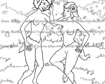 Adult Coloring Book ONE SINGLE PAGE to Color 8.5 by 11 Inches, Faun & Satyr Mythical Women, Colored Pencil Ink Marker Fantasy Ladies Nude
