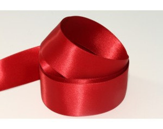 Garnet Red Ribbon Woven Edge Double Satin, 1/2 inch width (12 mm)  Made in England 15 ft roll (January color!)
