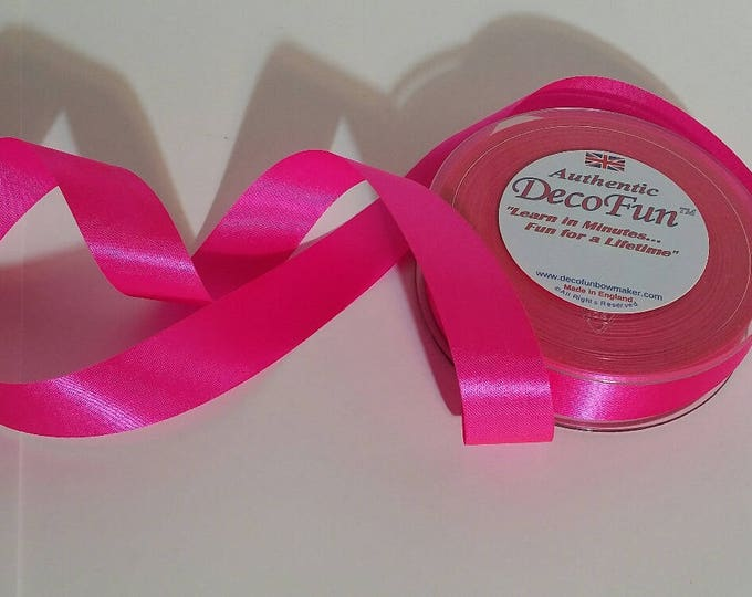 Shocking Pink Satin Ribbon 1 inch width, non-fray cut edge 120 ft Charles Clay Nature's Choice BioDegradable Ribbon, made in England S-A-L-E