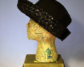 1960s Black Straw Breton Women's Hat Summer Black