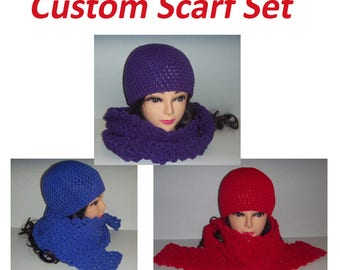Woman's Custom Crochet Scarf Set, Any Color, Gifts For Her, Scarf and Hat Set