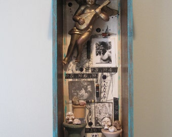 Mixed media assemblage, shadow box, 3D art, found objects, vintage funky junk