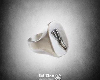 Animal insect Praying mantis Mantodea Ring Solid Sterling Silver 925 By Ezi Zino