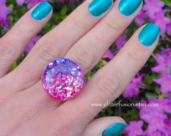 Pink and Purple Opal Resin Bubble Ring, Hot Pink Amethyst Glitter Fusion Statement Ring, Tie Dye Opalescent Glitter Gradient Faux Opal Ring
