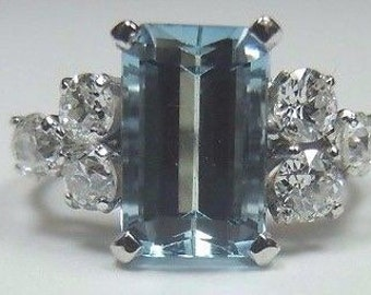 Antique Platinum Aquamarine Engagement Ring | RE-919