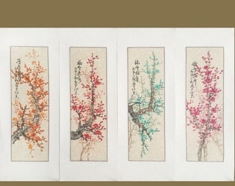 Cherry blossom painting,original chinese painting,set of 4 colour blossom painting,oriental art,chinese watercolour painting