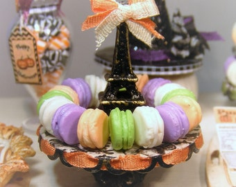 12th Scale Doll House Shabby Chic Halloween Stand Of Macarons