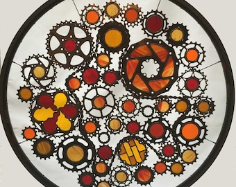 Stained glass bicycle wheel Fire themed - recycled bicycle art
