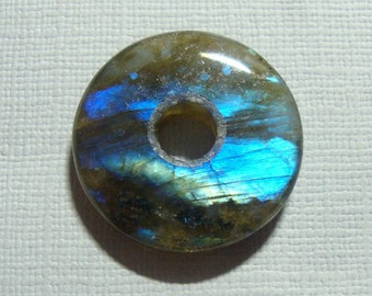 25mm, Labradorite, Gorgeous Firey Blue Gold Green Flashy Labradorite Smooth Donut PENDANT, D6