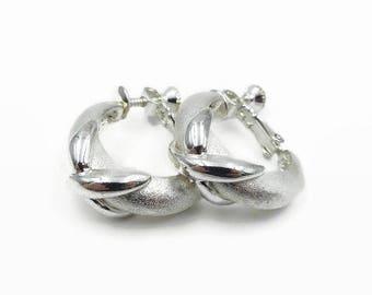 Napier Silver Tone Half Hoop Nautical Cross Earrings - Napier Hoops, Hoop Earrings, Silver Earrings, Vintage Earrings