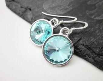 Aqua Blue Drop Earrings -- Light Aqua Earrings -- Silver & Aqua Crystal Earrings -- Light Blue Crystal Drop Earrings -- Round Aqua Earrings