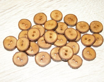 """Small 28 Handmade apple wood Tree Branch Buttons with Bark, accessories (0,63'' diameter x 0,16"""" thick)"""