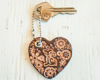 Custom initial leather key fob - natural woodland floral pattern heart bag tag - hand stamped - Your choice of initial and hardware