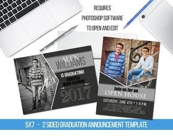 INSTANT DOWNLOAD Guys Arrow Framing Senior Graduation Announcement Templates/PSD files