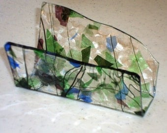 Fused Glass Business Card Holder -  Blue, green and purple 12222