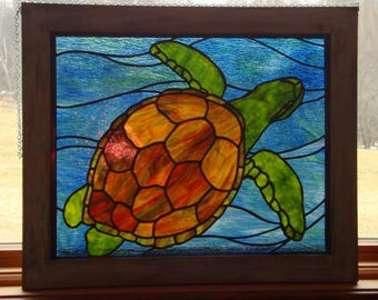 Stained Glass Sea Turtle Stained Glass Panel