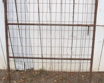 """Rustic Antique 52"""" Tall 42"""" Wide  Farm Garden Gate with wire designs and built in slide latch  (50 % OFF APPLIED)"""