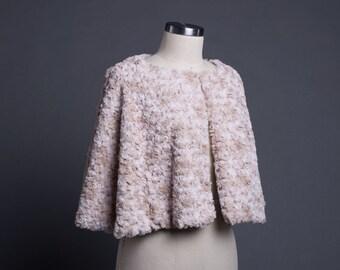 Pale Pink and Sand rosette Fur Cape-EL1651