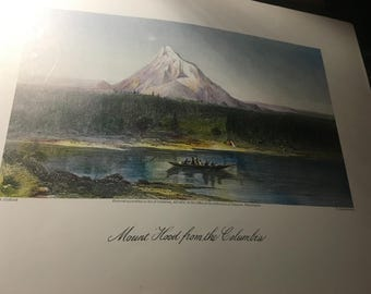 Mount Hood from the Cokumbia. orig. 1874 reproduction library of congress 1974 color. 9.5x12
