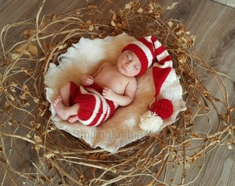 Baby Santa Hat set, Baby Christmas Hat and diaper cover, Christmas Hat, Newborn Christmas Hat, Elf Hat, Newborn Photo Prop Clothing