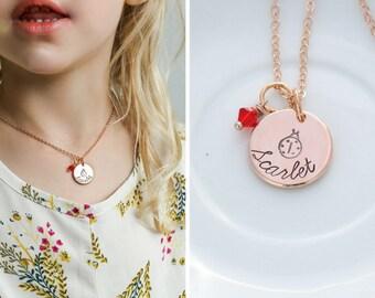 SALE • Ladybug Gift Girls Ladybug Necklace Rose Gold Disc Stamped Name Necklace • Bug Jewelry Ladybird Red Ladybug Jewelry •Toddler Necklace
