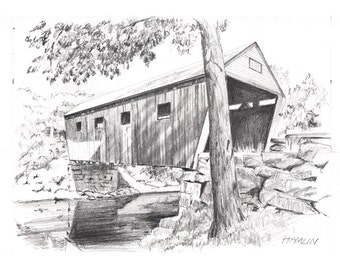 Lovejoy Covered Bridge - Open edition print of an original drawing