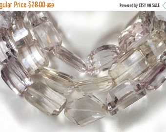 ON SALE Mystic Pale Pink Quartz Nuggets Step Faceted Center Drilled Chunky Beads Earth Mined Gemstone - Choose Your 4-Inch Strand