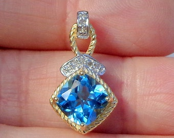 10kt Solid Yellow/White Gold, Natural Swiss Blue Topaz, Gorgeous Diamond Accent Pendent, Ladies Gift
