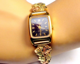 Black Hills Gold Women's Watch ~ Solid 10K Gold Tips, with Traditional Leaf and Grape Design, Leaves of 12K Green & Rose Gold, New Movement