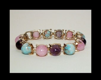 "1960s bracelet with large cabochon gemstones beads ~ 7.5"" ~ turquoise amethyst rose quartz ~ pink blue aqua purple ~ Vendome Coro designer"