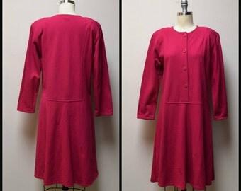 VINTAGE 1980s/90s HINO & MALEE Fuchia Pink Cotton Pique Lagenlook Dress Size 1