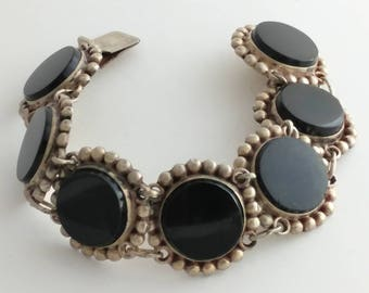 Round Shaped Onyx & Sterling Bracelet Marked Sterling