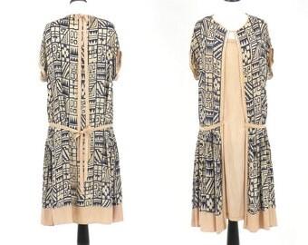 1920s Dress, Art Deco Geometric Print Dress, Vintage 20s Flapper Dress, M - L