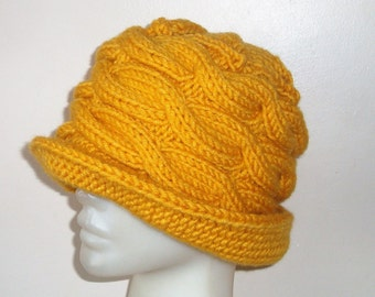 Knit Womens Hats Winter, Trendy, Brim, Fedora Hand Knit Mustard Yellow Hat Gift For Women
