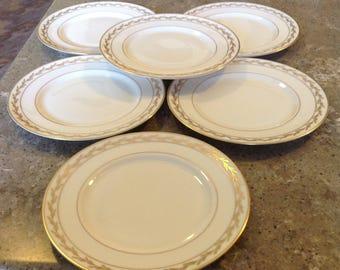 Elegant Vintage Franciscan Gold Leaf BEVERLY Vintage China Pattern Salad Plate Set of 6