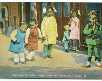Chinese Children Chinatown San Francisco California 1910s postcard