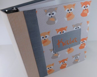 Baby Book Girl Baby Memory Book Girl Photo Album Scrapbook Modern personalized Shower Gift pregnancy journal 4x6 5x7 8x10 Orange Fox Z
