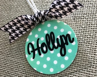 Luggage Tag Polka Dot Backpack Tag Polka Dot Lunch Bag Tag Personalized Luggage Tag Custom Luggage Tag Custom Gift Tag Party Favor