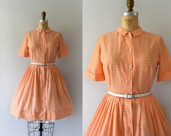 Vintage 1950s dress -- 50s Orange Gingham Shirtwaist Day Dress