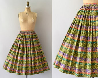 1950s Vintage Skirt - 50s Green Floral Stripe Full Cotton Skirt