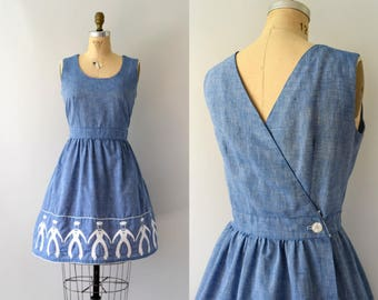 1970s Vintage Dress - 60s 70s Blue Chambray Embroidered Sailor Dress