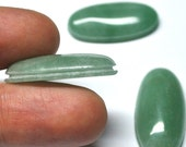 Green Aventurine Grooved Elongated Oval Cabochons, Natural Gemstones, Macrame Supply - 3 pcs - 30.0 x 15.0 x 6.5 mm - 66.5 ct - 161117-11