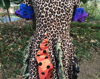 Leopard print cold shoulder upcycled party dress fits size M